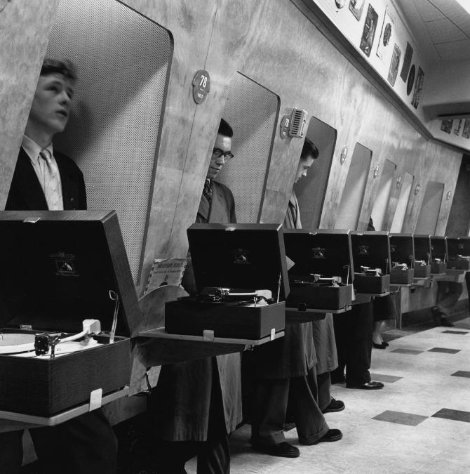 Listening Booths Photograph, 1955