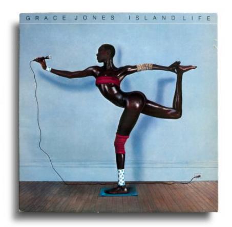 Vinyl: Grace Jones, Island Life, Island Records – 207 472, France, 1985. Design: Greg Porto. Photo: Jean-Paul Goude.